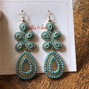 Turquoise & gold chandelier earrings